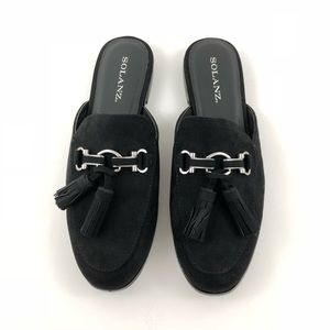 Solanz Womens Backless Black Loafers Brand New 7